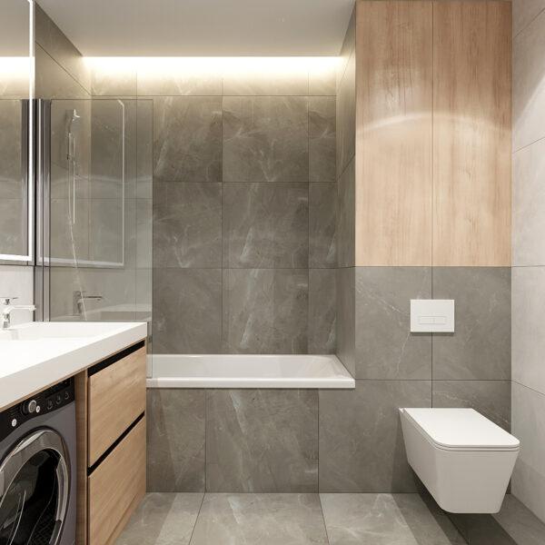 Дизайн интерьера квартиры ЖК «Металлист», санузел вид на ванну