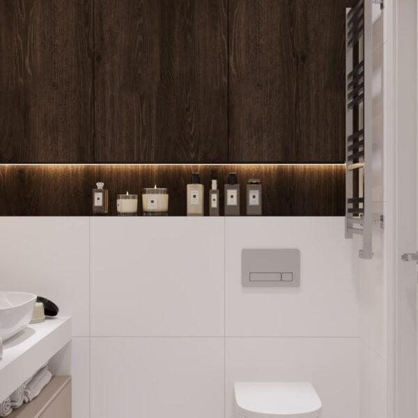 Дизайн интерьера квартиры ЖК «Гидропарк» ,санузел вид на заднюю стену