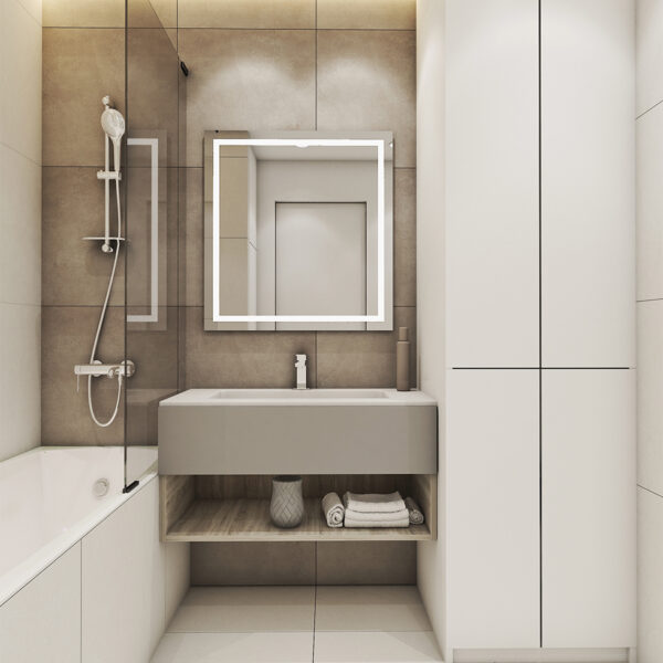 Дизайн интерьера квартиры ЖК «Птичка», санузел вид на зеркало