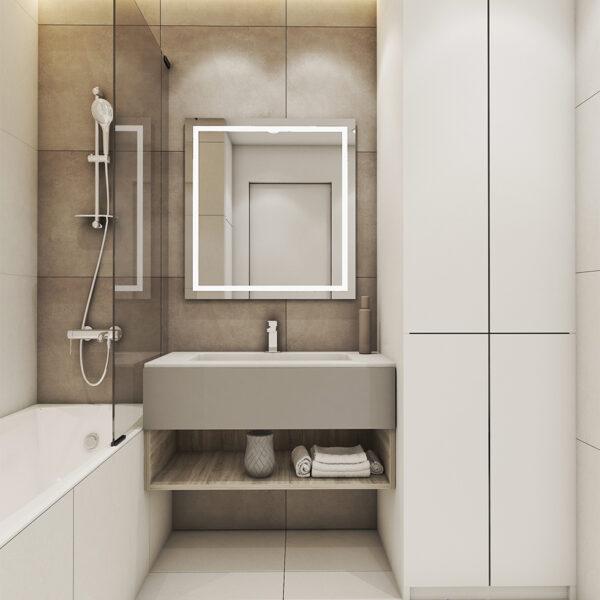 Дизайн інтер'єру квартири ЖК «Пташка», санвузол вид на дзеркало