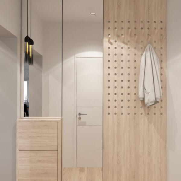 Дизайн интерьера квартиры ЖК «Металлист», коридор с видом на закрытый шкаф