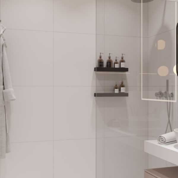 Дизайн интерьера квартиры ЖК «Гидропарк», санузел вид на душовую кабинку