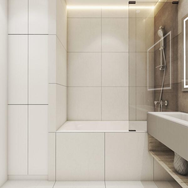 Дизайн интерьера квартиры ЖК «Птичка», санузел вид на левую сторону