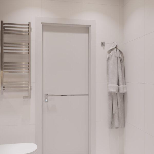 Дизайн интерьера квартиры ЖК «Гидропарк» ,санузел вид под углом на дверь