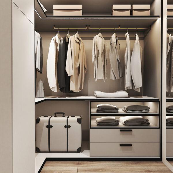Дизайн интерьера квартиры ЖК «Птичка», гардероб вид на полки для одежды