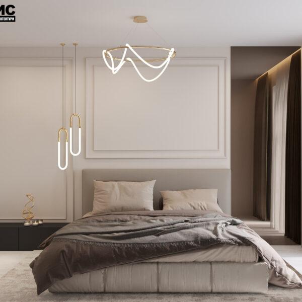 Дизайн интерьера квартиры ЖК «Гидропарк», спальня вид на кровать по центру
