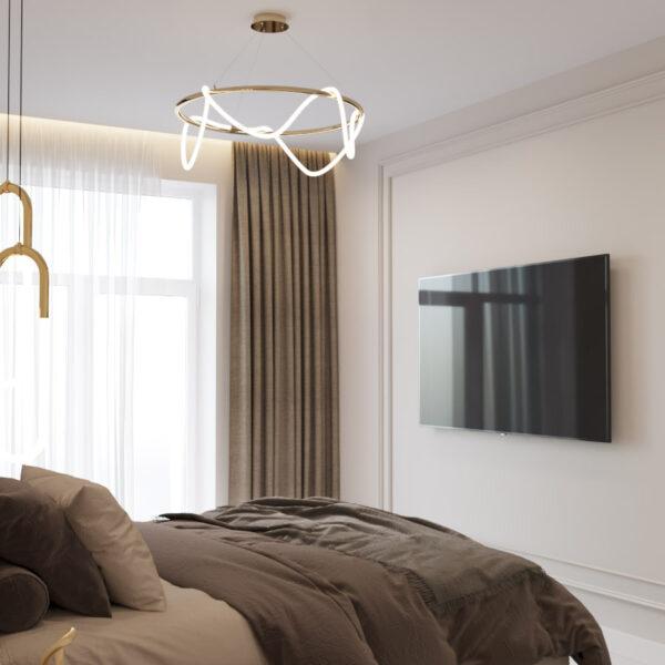 Дизайн интерьера квартиры ЖК «Гидропарк», спальня вид под углом