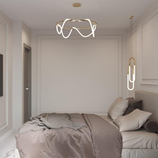 Дизайн интерьера квартиры ЖК «Гидропарк», спальня вид на левую сторону кровати