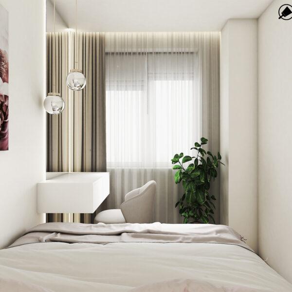 Дизайн интерьера квартиры ЖК «Птичка» , спальня вид на окно