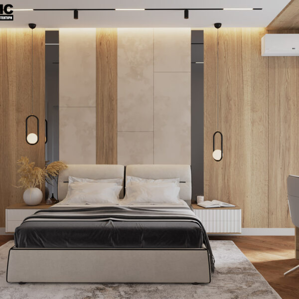 Дизайн интерьера квартиры ЖК «Инфинити», спальня с видом на кровать а по центру