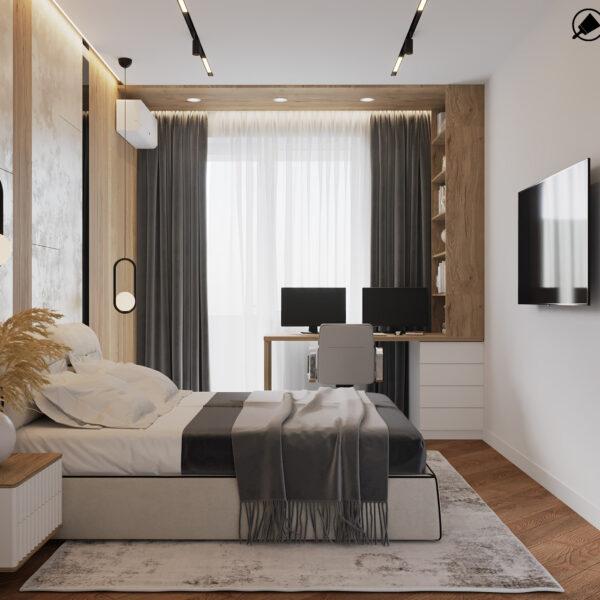 Дизайн інтер'єру квартири ЖК «Інфініті», спальня вид на ліжко праворуч
