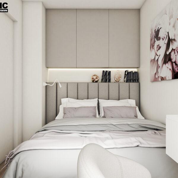 Дизайн интерьера квартиры ЖК «Птичка», спальня с видом на кровать по центру