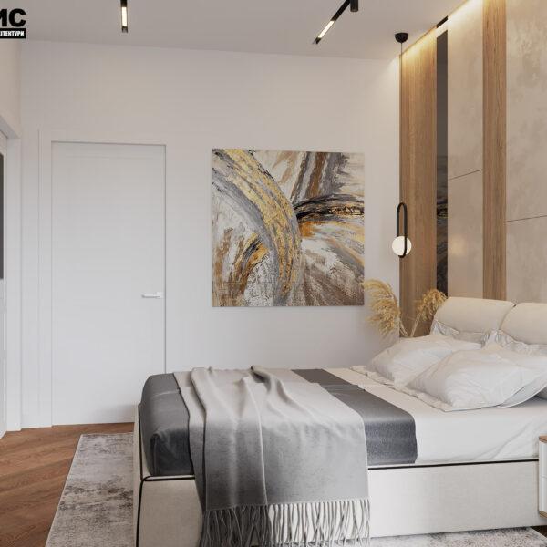 Дизайн інтер'єру квартири ЖК «Інфініті», спальня вид на ліжко ліворуч