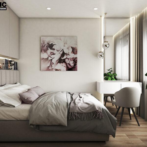 Дизайн интерьера квартиры ЖК «Птичка», спальня вид с правой стороны