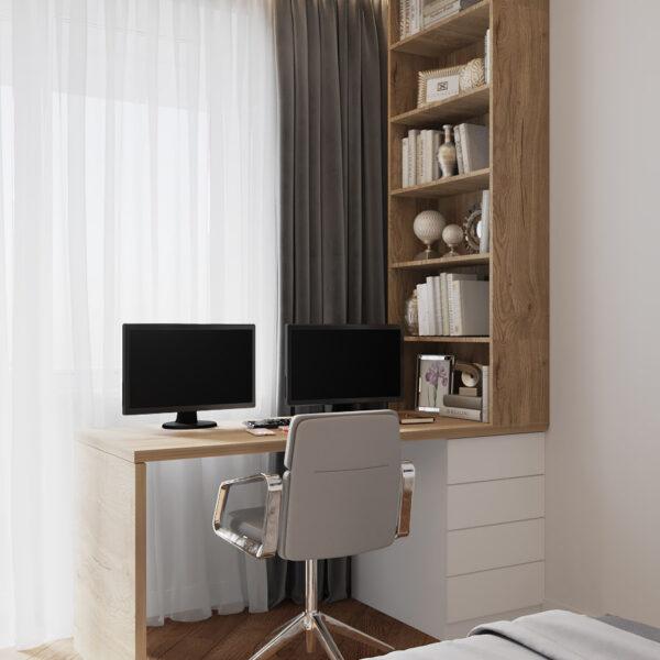 Дизайн интерьера квартиры ЖК «Инфинити», вид на рабочую зону спальни
