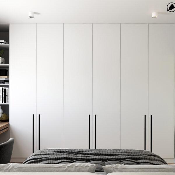 Дизайн интерьера квартиры ЖК «Металлист» , спальня вид на шкаф