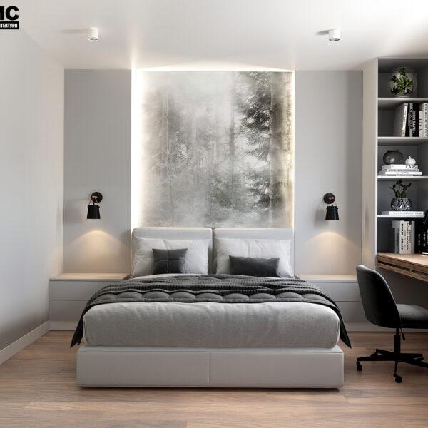 Дизайн интерьера квартиры ЖК «Металлист» , спальня вид на центр кровати