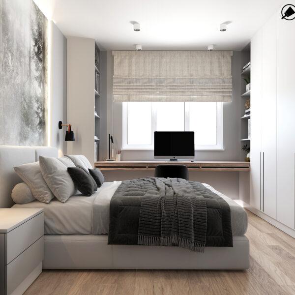 Дизайн интерьера квартиры ЖК «Металлист» ,спальня вид на правую сторону кровати