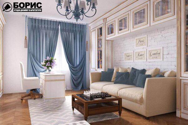 Дизайн інтер'єру квартири в сталінці, вітальня