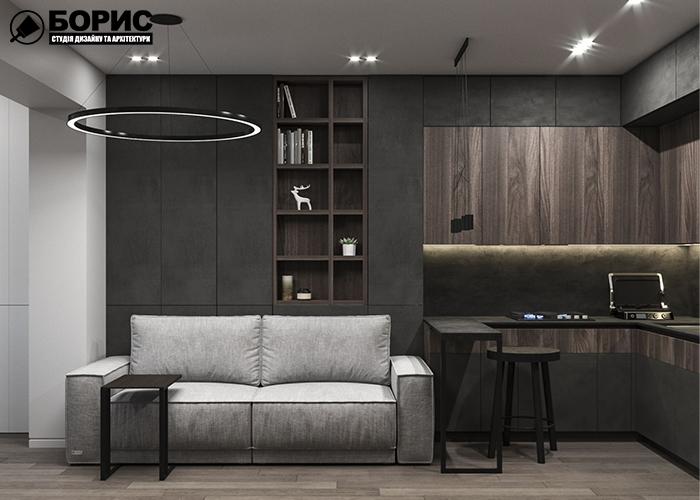 Дизайн інтер'єру квартири в сталінці, вид на диван