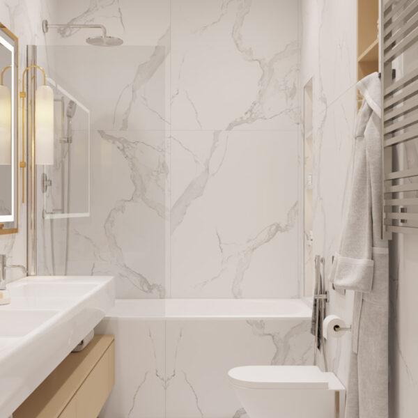Дизайн интерьера квартиры ЖК «Инфинити», санузел вид на ванну
