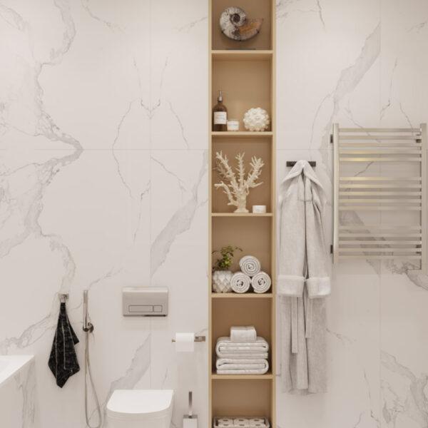Дизайн интерьера квартиры ЖК «Инфинити», санузел вид на полки