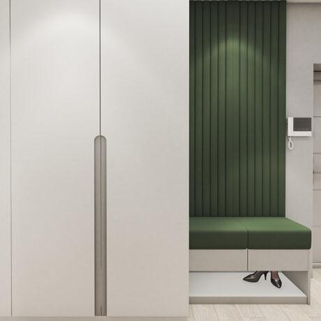 """Дизайн интерьера двухкомнатной квартиры ЖК """"Пролисок"""", прихожая вид на шкаф"""