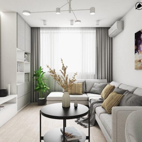 """Дизайн интерьера двухкомнатной квартиры ЖК """"Пролисок"""" ,гостиная вид на окно"""