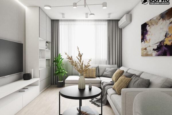 Дизайн интерьера двухкомнатной квартиры ЖК «Пролисок»