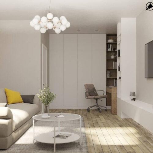 """Дизайн-проекту інтер'єру однокімнатної квартири ЖК """"Левада 2"""", вітальня вид на кімнату в цілому"""