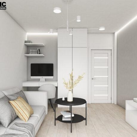 Дизайн інтер'єру двокімнатної квартири ЖК «Пролісок», вітальня вид на двері