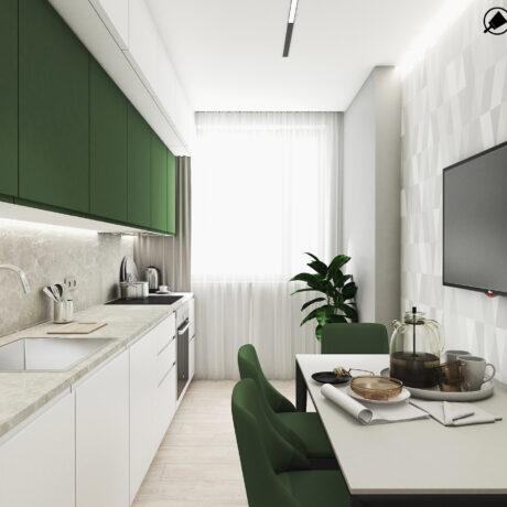 """Дизайн интерьера двухкомнатной квартиры ЖК """"Пролисок"""", кухня вид на окно"""
