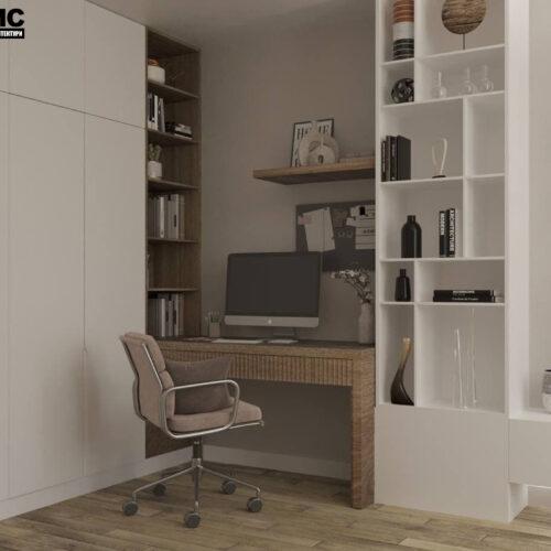 """Дизайн-проекту інтер'єру однокімнатної квартири ЖК """"Левада 2"""", вітальня вид на робочу зону"""