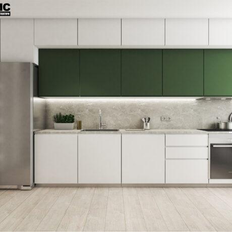 Дизайн інтер'єру двокімнатної квартири ЖК «Пролісок», кухня вид по центру