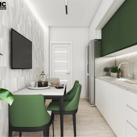 """Дизайн интерьера двухкомнатной квартиры ЖК """"Пролисок"""", кухня вид на обеденную зону"""