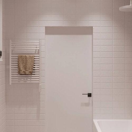 """Дизайн-проекту інтер'єру однокімнатної квартири ЖК """"Левада 2"""", санвузол вид на двері"""