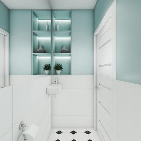 Дизайн інтер'єру двокімнатної квартири ЖК «Пролісок», санвузол вид ліворуч