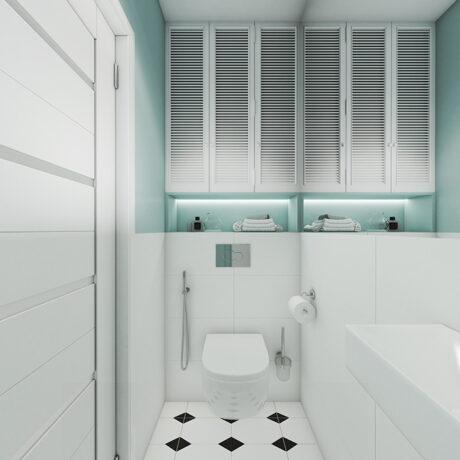 Дизайн інтер'єру двокімнатної квартири ЖК «Пролісок», санвузол вид на двері