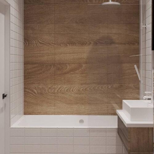 """Дизайн-проекту інтер'єру однокімнатної квартири ЖК """"Левада 2"""", санвузол вид на душову кабіну"""
