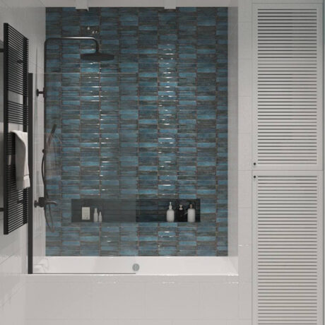 """Дизайн интерьера двухкомнатной квартиры ЖК """"Пролисок"""". ванная комната вид на вану"""