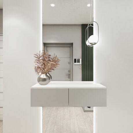 """Дизайн интерьера двухкомнатной квартиры ЖК """"Пролисок"""", прихожая вид на зеркало"""