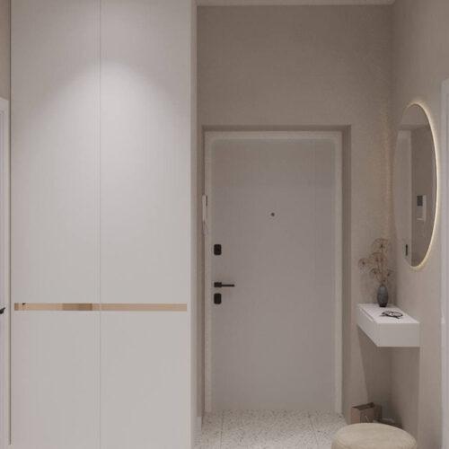 """Дизайн-проекту інтер'єру однокімнатної квартири ЖК """"Левада 2"""", передпокій вид на тумбу"""