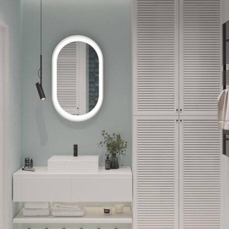 """Дизайн интерьера двухкомнатной квартиры ЖК """"Пролисок"""". ванная комната вид на зеркало"""