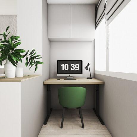 """Дизайн интерьера двухкомнатной квартиры ЖК """"Пролисок"""". ванная комната, лоджия вид на рабочую зону"""