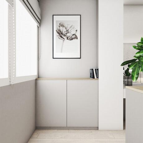 """Дизайн интерьера двухкомнатной квартиры ЖК """"Пролисок"""". ванная комната, лоджия вид на правую сторону"""