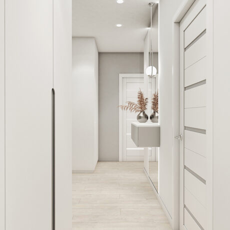 """Дизайн интерьера двухкомнатной квартиры ЖК """"Пролисок"""", прихожая вид на укоридор"""