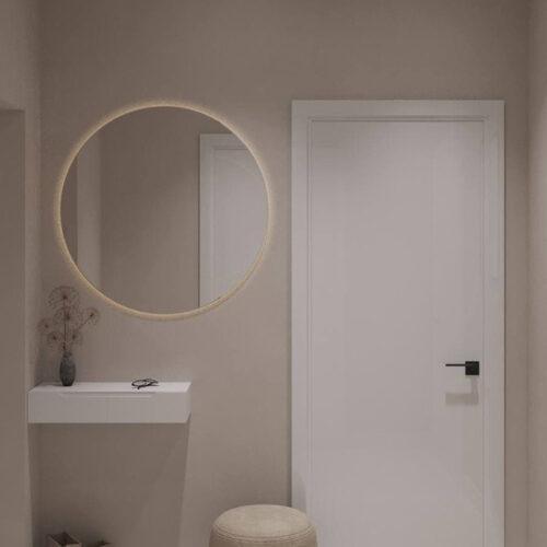 """Дизайн-проекту інтер'єру однокімнатної квартири ЖК """"Левада 2"""", передпокій вид на дзеркало"""