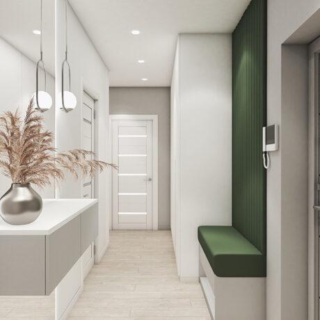 """Дизайн интерьера двухкомнатной квартиры ЖК """"Пролисок"""", прихожая вид на коридор с другой стороныы"""