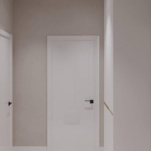 """Дизайн-проекту інтер'єру однокімнатної квартири ЖК """"Левада 2"""", передпокій вид на коридор"""