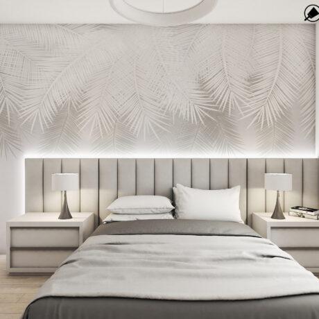"""Дизайн интерьера двухкомнатной квартиры ЖК """"Пролисок"""" ,спальня вид на кровать по центру"""